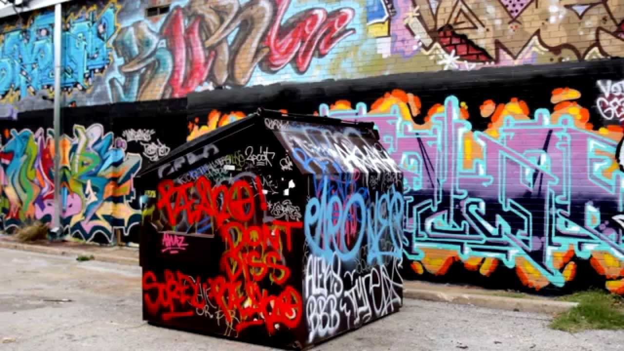 Infamous graffiti wall in dallas texas
