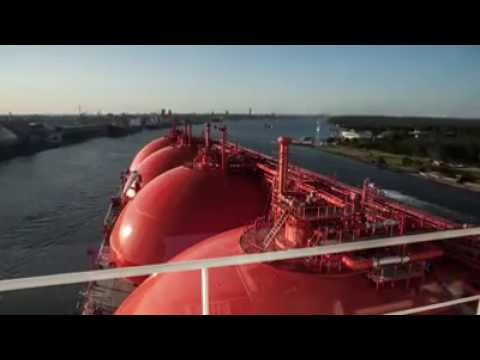 See how an LNG tanker is docked and it's cargo operation.