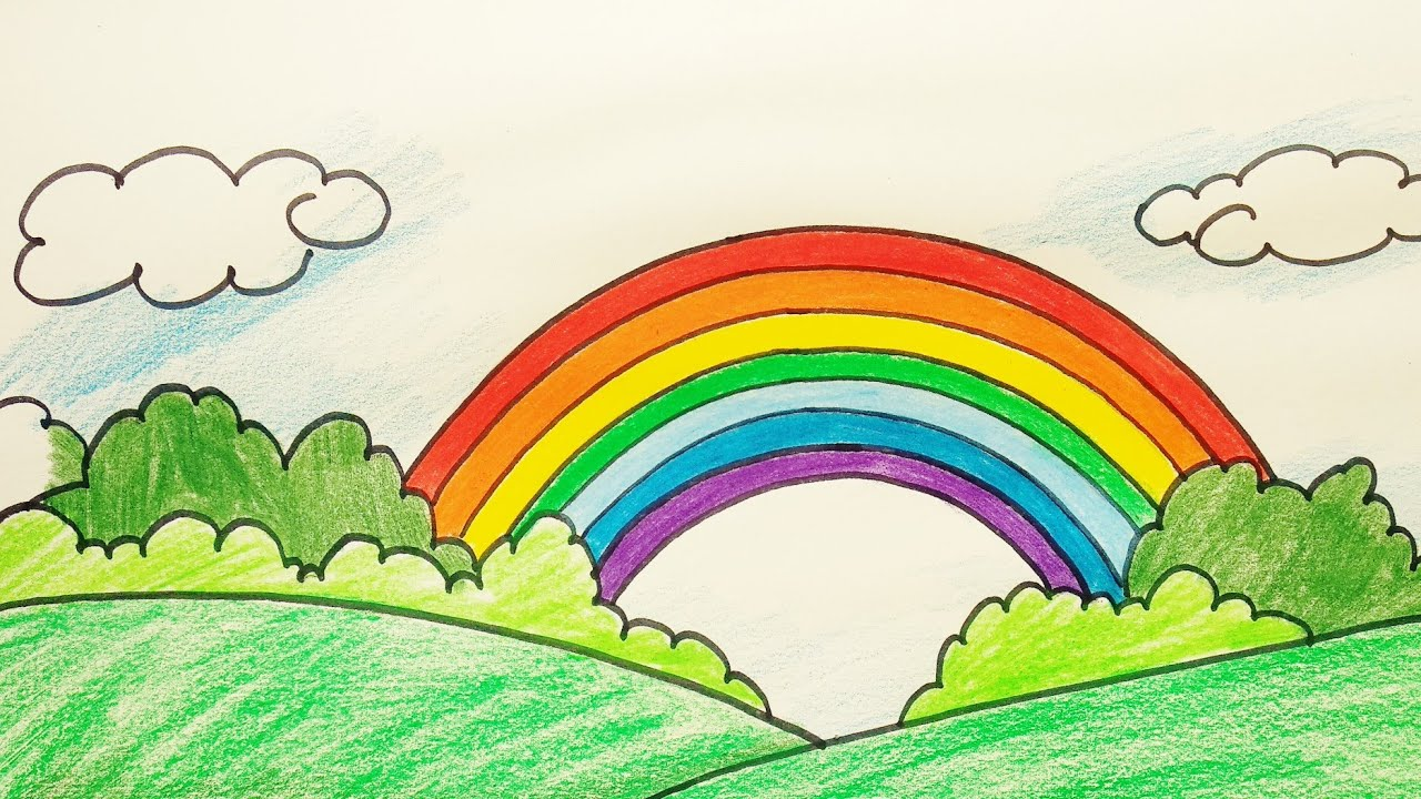 How To Draw Rainbow Step By Step Easy Rainbow Scenery Drawing Youtube