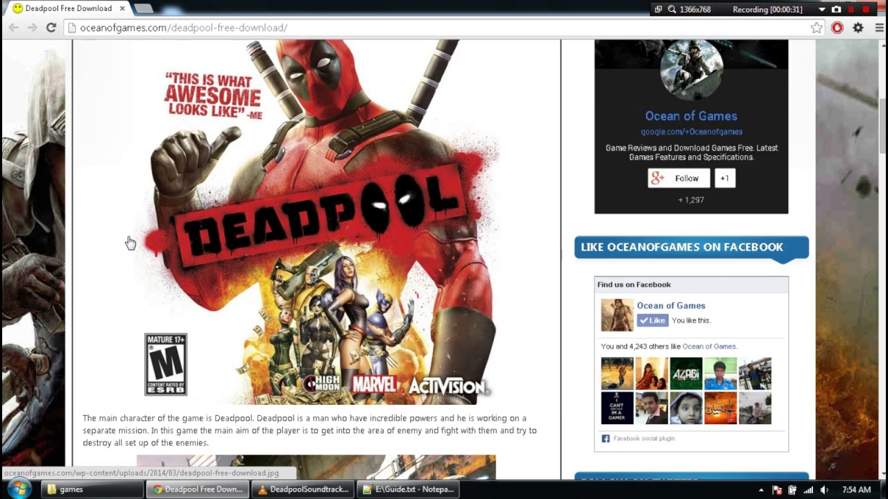 deadpool game free download for pc ocean of games