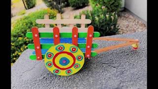 Diy bullock cart with ice cream sticks