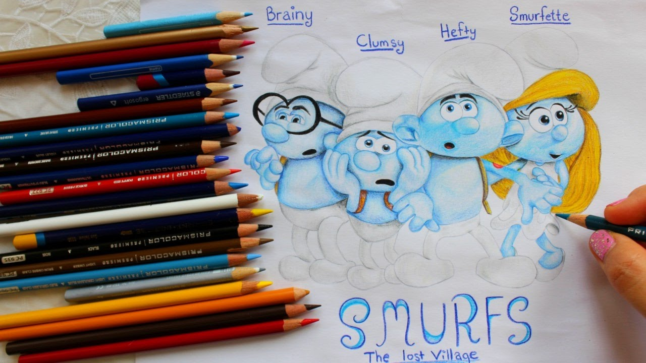 Drawing smurfette brainy clumsy hefty from smurfs the - Hefty smurf the lost village ...