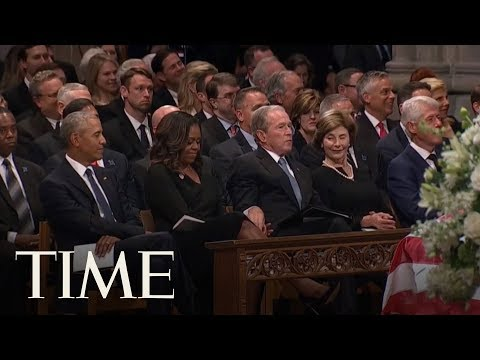 George W. Bush Sneaks A Piece Of Candy To Michelle Obama At The John McCain Memorial Service | TIME