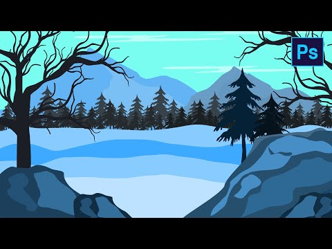 Flat landscape drawing tutorial in #PHOTOSHOP for beginners