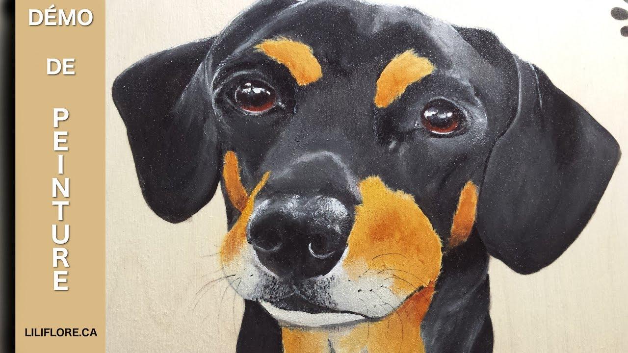 D monstration de peinture portrait d 39 un petit chien - Comment couper les griffes d un chien ...