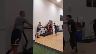 Mike Trout & minor-league Sensation RHP Aaron Cox having fun with Cassius Ali work out