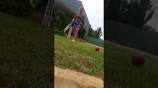 Dayne and mum playing cricket