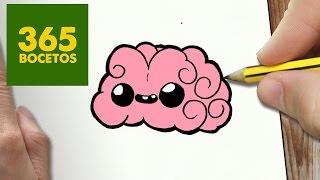 COMO DIBUJAR CEREBRO KAWAII PASO A PASO - Dibujos kawaii faciles - How to draw a brain