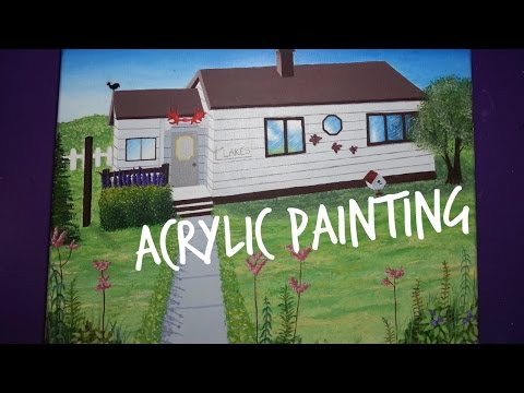 House + Landscape Speed Paint | Acrylic Painting | Art By Emm