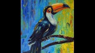 Рисуем маслом экзотическую птичку