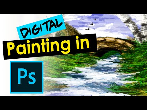 how to paint a landscape painting in photoshop| digital landscape painting  |2020|Palette knife