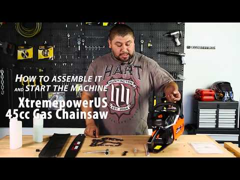 XtremepowerUS 45cc Gas Chainsaw How to assemble it and start the machine