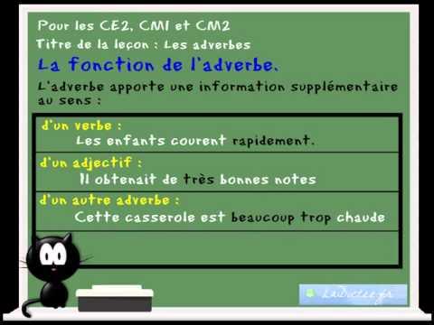 Cours Lecon De Francais Les Adverbes Ce2 Cm1 Cm2 Www Ladictee Fr Youtube