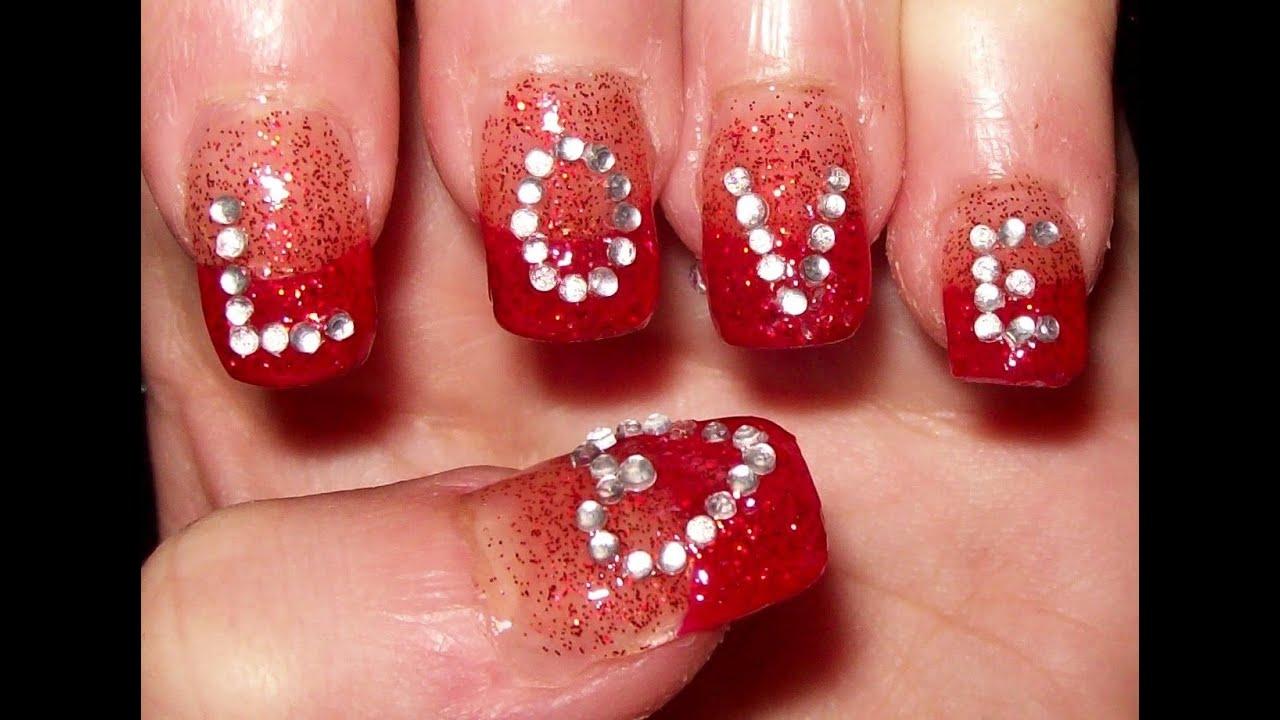 L-O-V-E nails - Valentine\'s day design - YouTube