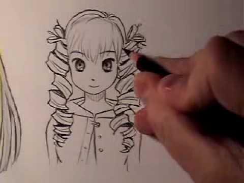 draw manga hair curly
