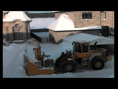 City snow removal in Laval, Quebec, Canada - winter 2012 -2013.