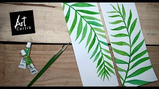Water Color Tropical Leaves Painting | Drawing Tutorial