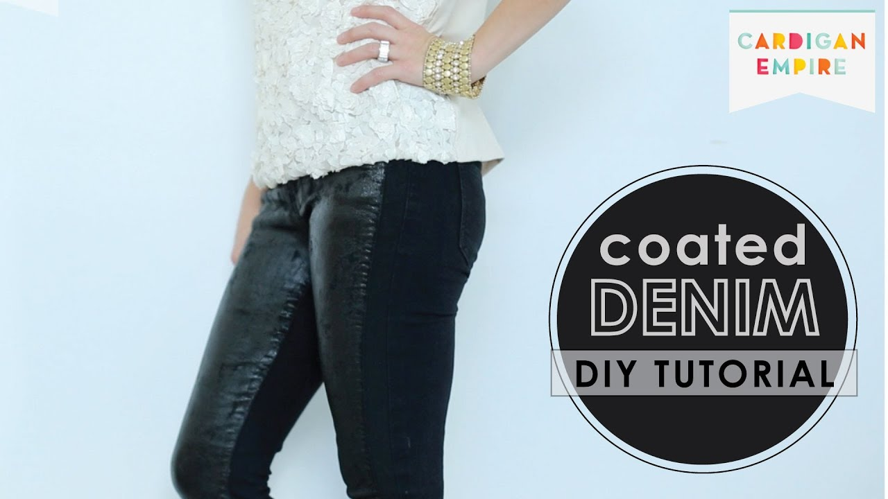 How to Faux Wax DenimDIY Coated Jeans TutorialYouTube