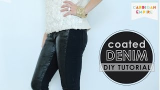 How to Faux Wax Denim - DIY Coated Jeans Tutorial Thumbnail