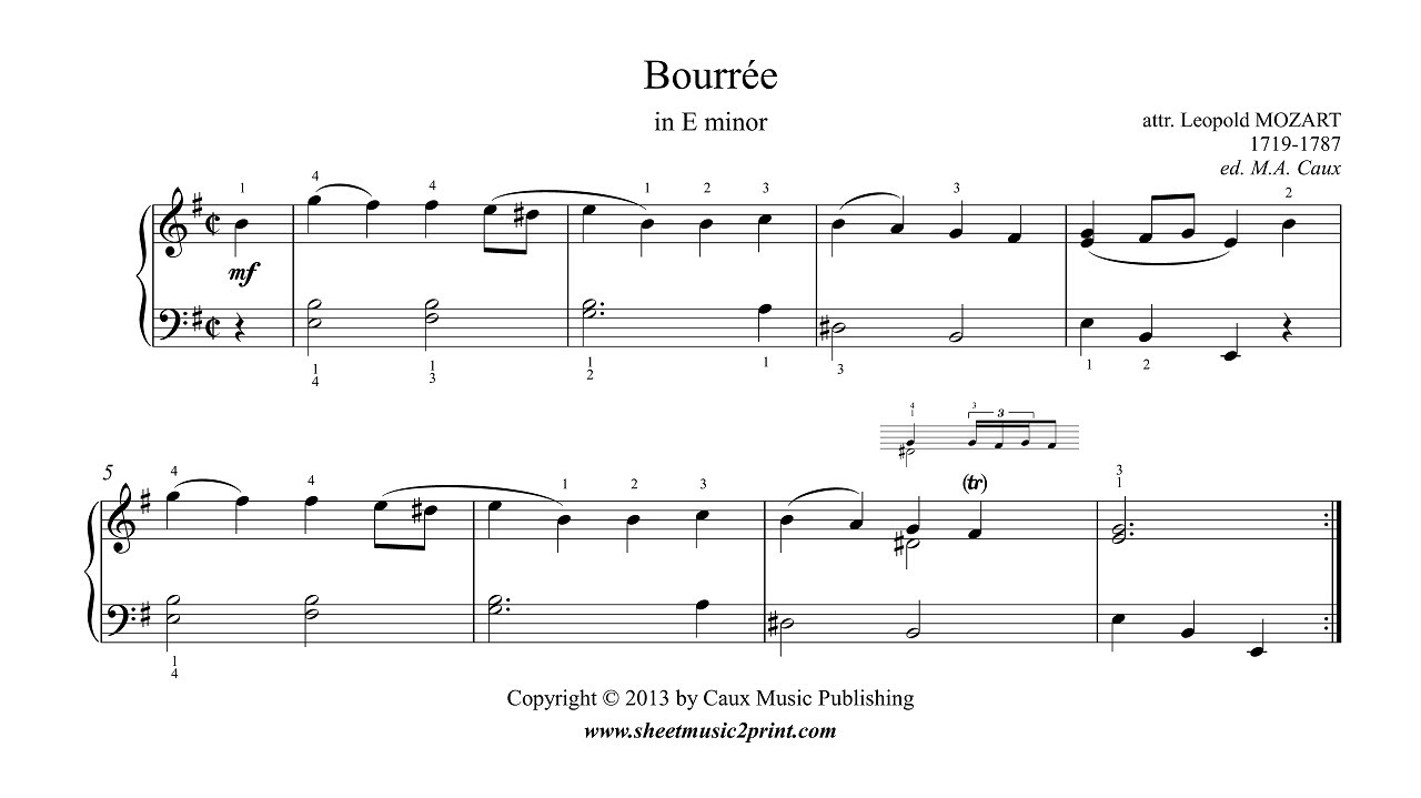 how to play bouree piano