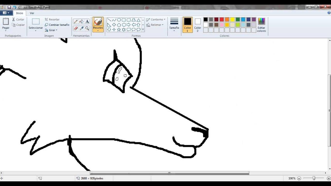 Como dibujar un lobo en paint youtube for Dibujar un mueble en 3d