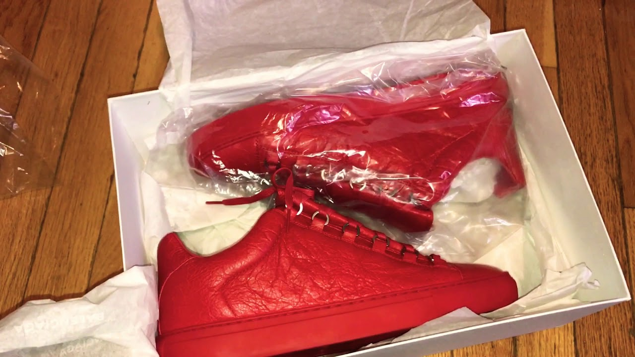 55af5e7131dd BALENCIAGA ARENA LOW UNBOXING ! RED ROUGE - YouTube