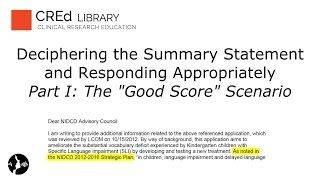 """Grant Review Summary Statements Part I: """"The Good Score"""" and Going to Advisory Council"""