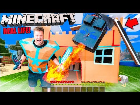 Real Life MINECRAFT Box Fort! 24 Hour Challenge Vs Ender Dragon