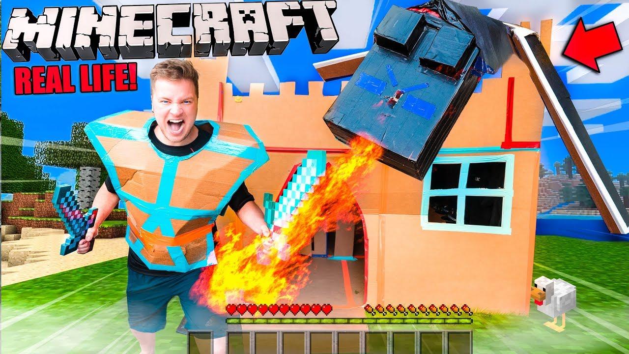Real Life MINECRAFT Box Fort! 24 Hour Challenge Vs Ender Dragon
