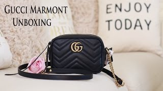 Unboxing | Gucci GG Marmont Mini Camera Bag(Hello Guys! Happy Monday guys! Here's my 1st unboxing video: Gucci GG Marmont Mini Camera Bag. Hope you like it links: GG Marmont Camera mini quilted ..., 2016-12-13T04:00:10.000Z)