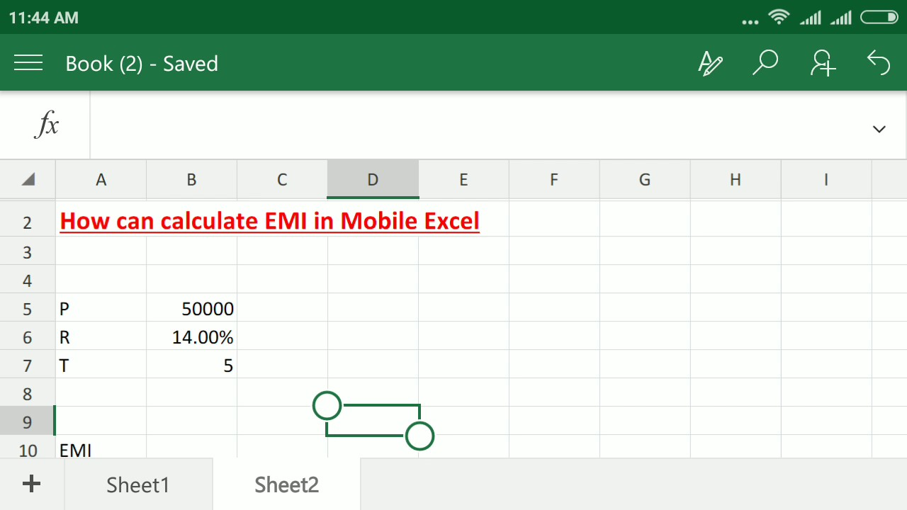 How can calculate EMI in Mobile Excel - YouTube