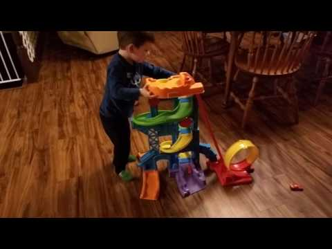 RACE CARS!! Dax Playing W/ His Fisher Price Little People Wheelies Loops N Swoops Amusement Park!