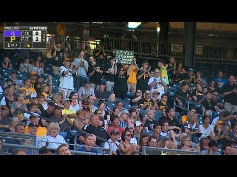 Taillon receives an ovation before at-bat