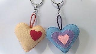 Cara Mudah Membuat Gantungan kunci Love Dari Kain Flanel | Easy Tutorial Heart Keychain