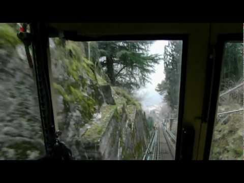HD Riding Funicular Lake Como Mountain Railway Italy Amazing Views Italia Funicolare