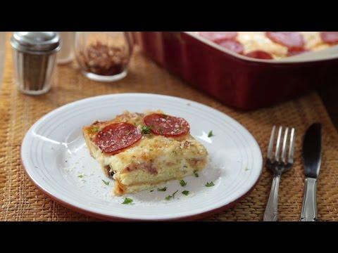 How to Make Leftover Pizza Breakfast Casserole | Pizza Recipes | Allrecipes.com