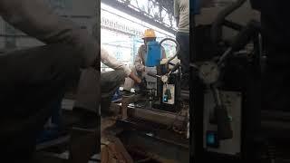 Magnetic Drilling Machines on rail track with auto feed machine ojasvi machines pvt ltd