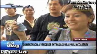Largas colas para comprar entradas de Paul McCartney en Perú, 9 de mayo 2011