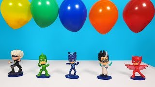 Learn Colors PJ Masks Balloon surprises Wrong Heads Disney cars Mcqueen Mini racers in beads candy