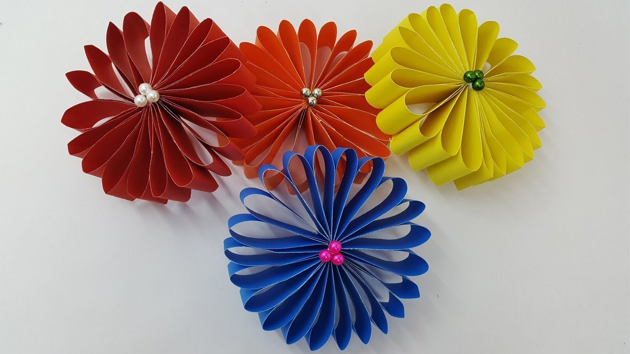How to make a paper flowers very easy and simple paper crafts diy how to make a paper flowers very easy and simple paper crafts diy room decoration ideas wall decor mightylinksfo