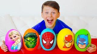 슈퍼 히어로 키즈 으로 노는 척 Superheroes Toy Eggs Hulk Elsa and more 더보기 어린이를위한 교육용 비디오   Kids Stories