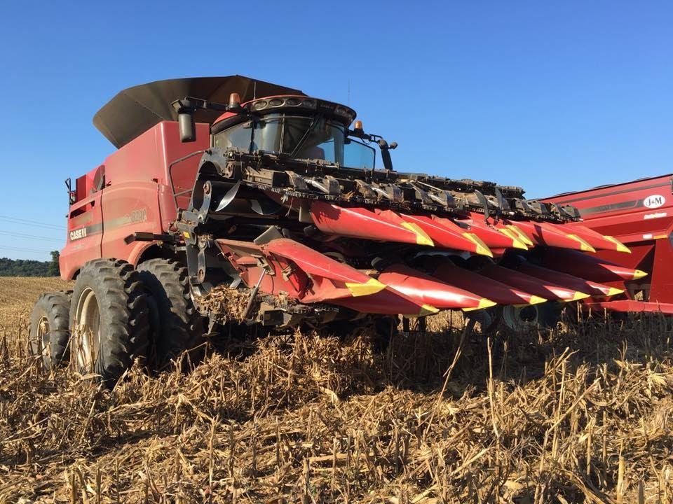 Case IH 8240 Combine and Geringhoff 12 Row Folding Corn Head