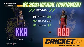 Cricket 19 - IPL Tournament 2021 - KKR vs RCB (Playing as RCB) - MATCH 1. LOW SPEC GAMING