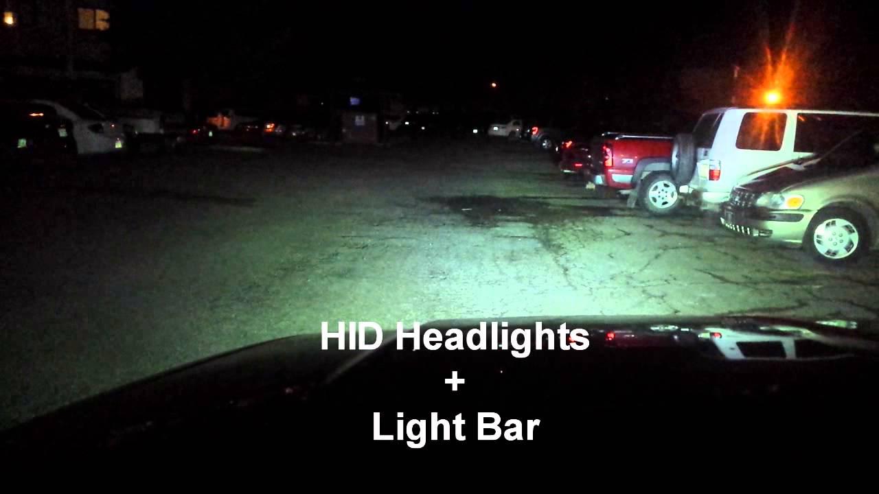 24 led light bar vs hid headlights youtube. Black Bedroom Furniture Sets. Home Design Ideas