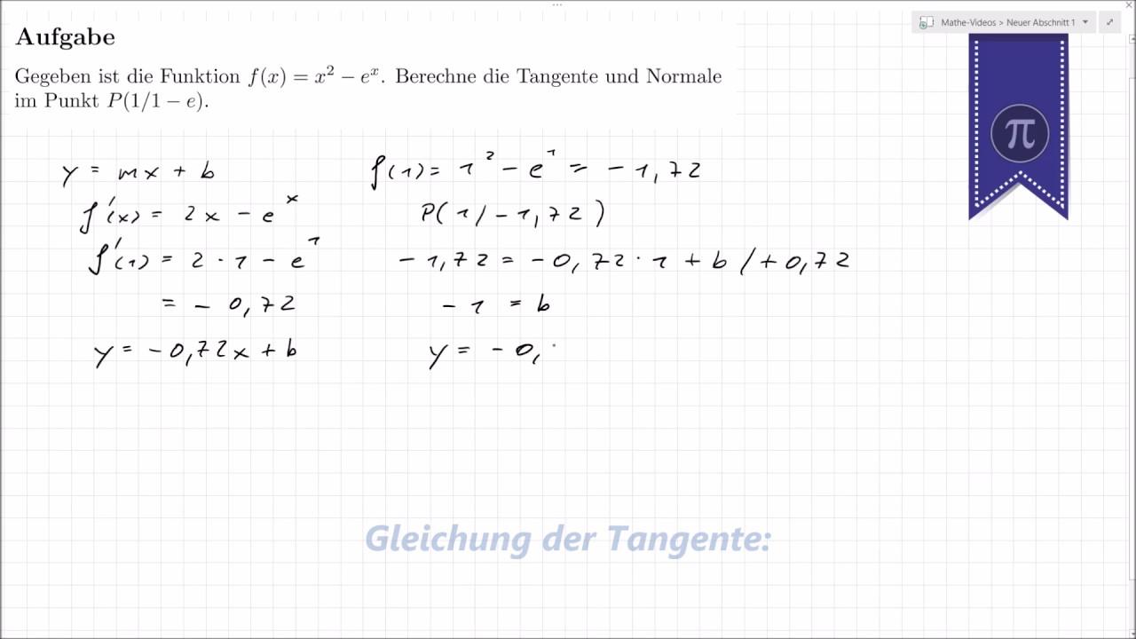 Tangente Und Normale Berechnen : tangente und normale berechnen youtube ~ Themetempest.com Abrechnung