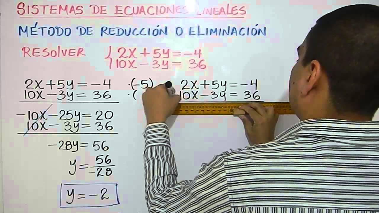 Sistemas de ecuaciones lineales. Método de eliminación. Ejemplo 2 ...