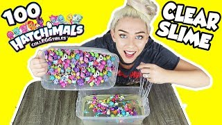 MIXING 100 HATCHIMAL CollEGGtibles INTO CLEAR SLIME! LEARN HOW TO MAKE HATCHIMAL SLIME!