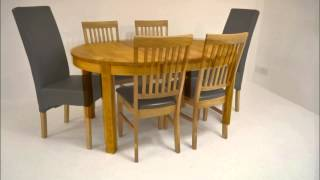 Contemporary Oak Extending Round Dining Table