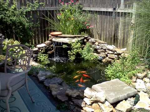 A backyard fish pond youtube for Koi pond garden