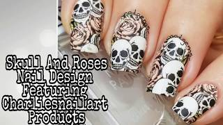 NAIL ART TUTORIAL//Halloween Skull And Rose Design Featuring Charliesnailart Products